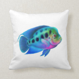 Colorful Flowerhorn Cichlid Fish Pillow