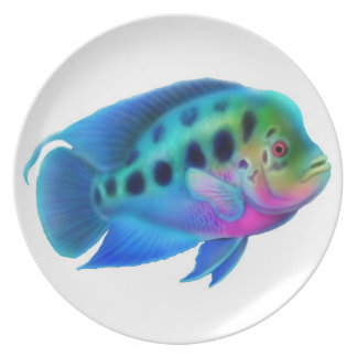 Colorful Flowerhorn Cichlid Fish Plate