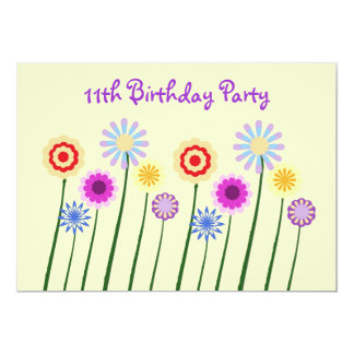 Colorful flowers, 11th Birthday Party Invitation