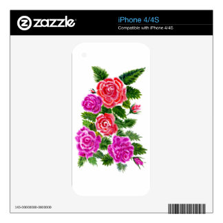 Colorful Flowers 4 Decal For iPhone 4