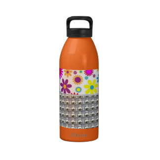 Colorful Flowers And Beads Pattern Reusable Water Bottle