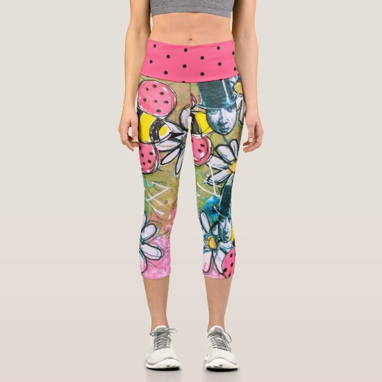 Colorful Flowers and Bees Steampunk Artistic Cute Capri Leggings