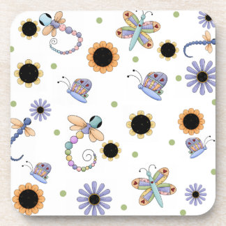 Colorful Flowers and Bugs Coasters