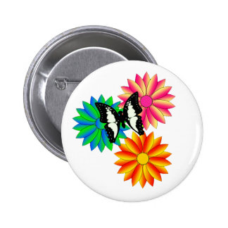 Colorful Flowers and Butterfly Pinback Buttons