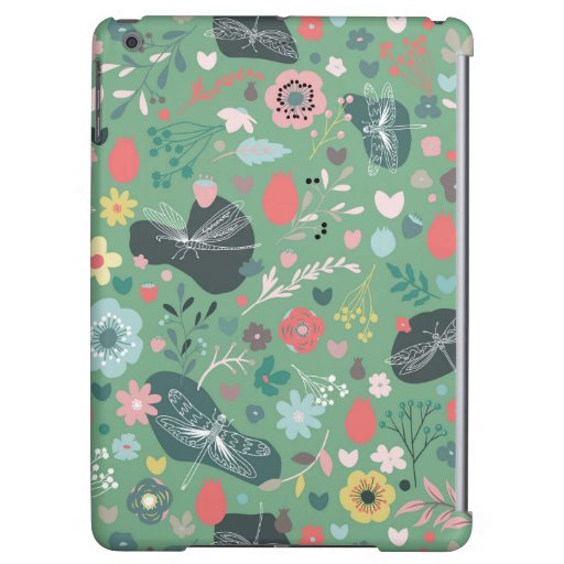 Colorful flowers and delicate white dragonflies case for iPad air