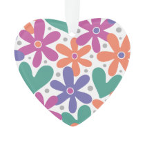 Colorful Flowers and Hearts Ornament