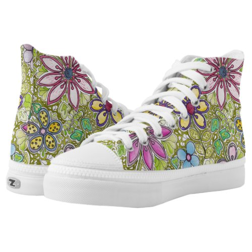 Colorful Flowers and leaves High-Top Sneakers