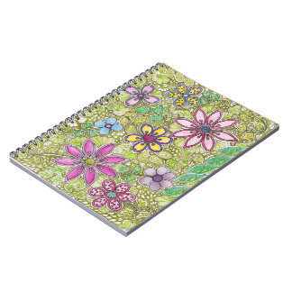 Colorful Flowers and Leaves Notebook