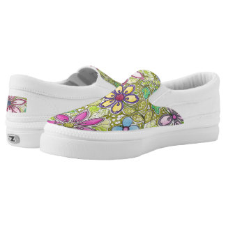 Colorful Flowers and leaves Slip-On Sneakers