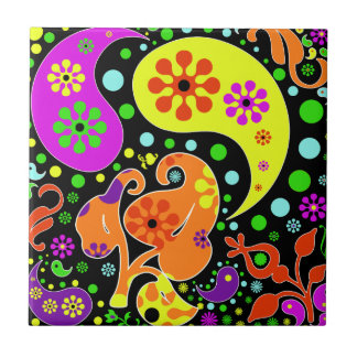 Colorful  Flowers And Paisley Pattern Retro Trivet