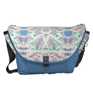 Colorful Flowers and Shapes on Cream Messenger Bag