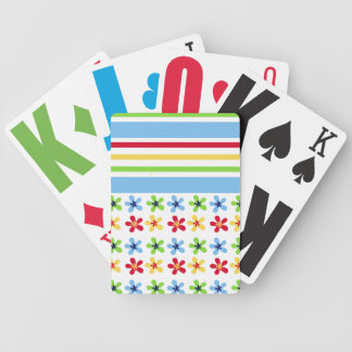 Colorful Flowers and Stripes Playing Cards