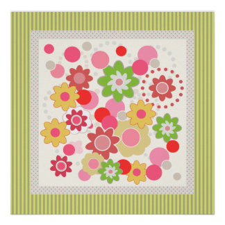 Colorful flowers and stripes square poster