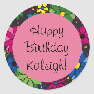 Colorful Flowers Black and Pink Birthday Sticker
