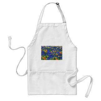 Colorful flowers, blue and orange adult apron