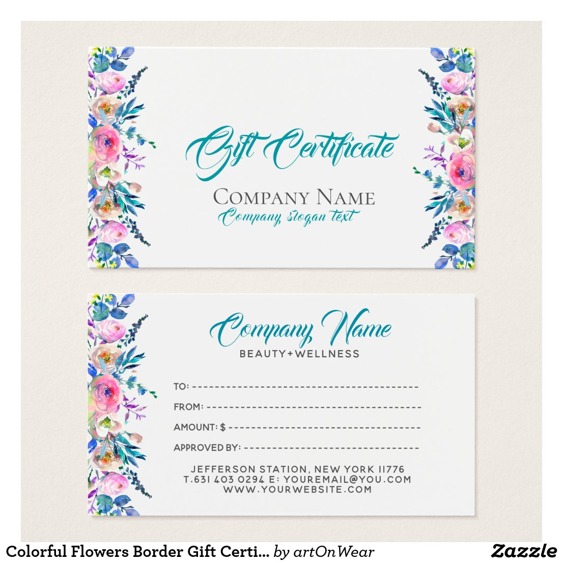 Colorful Flowers Border Gift Certificate Template