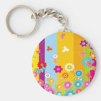 Colorful Flowers butterflies and bars Basic Round Button Keychain