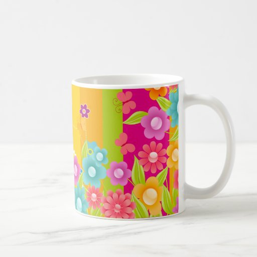 Colorful Flowers butterflies and bars Mug