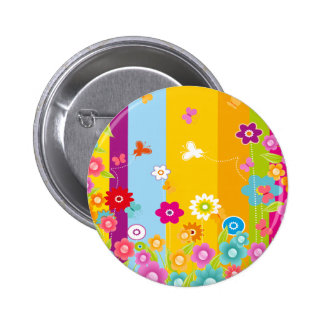 Colorful Flowers butterflies and bars Pinback Button