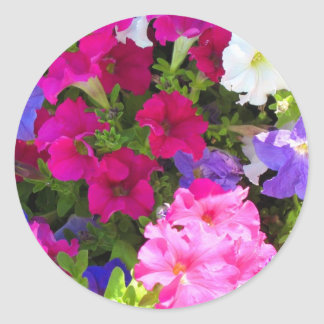 colorful flowers classic round sticker