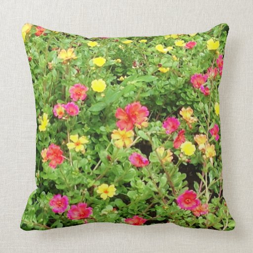 Throw Pillows With Large Flowers : Colorful Flowers Cotton Throw Pillow Zazzle