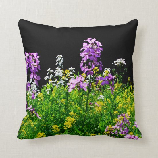 [Colorful Flowers] Field of Wildflowers Accent Throw Pillow
