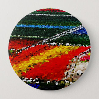 Colorful Flowers Field Painting Button