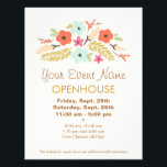 """Colorful Flowers Floral Open House Flyer<br><div class=""""desc"""">Vector illustration of cute colorful flower bouquet.  Overall pastel color scheme of light turquoise blue,  light peach,  pink,  dark orange and sage and olive green.</div>"""