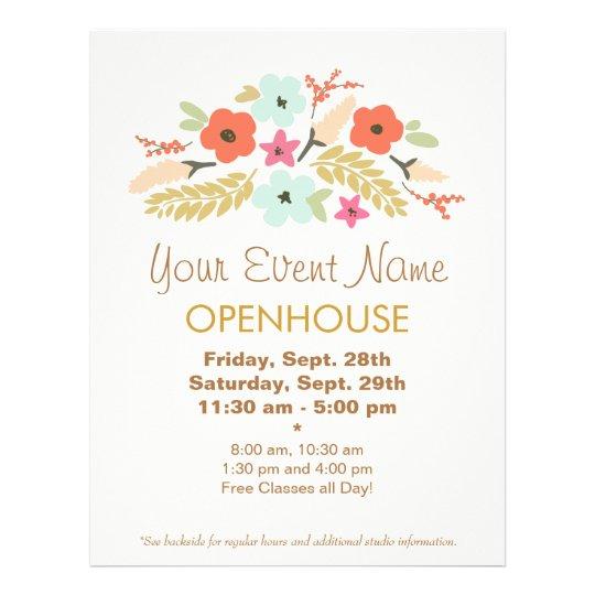 colorful flowers floral open house flyer. Black Bedroom Furniture Sets. Home Design Ideas