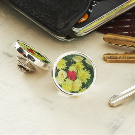 colorful+ flowers,     garden+ gnome, lapel pin