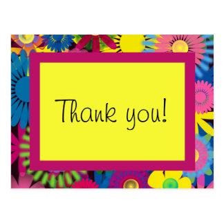 Colorful Flowers Girl Birthday Thank You Postcard