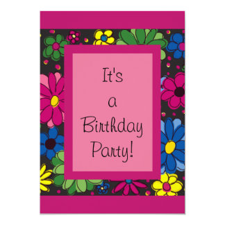 Colorful Flowers Girl's Birthday Party Invitation