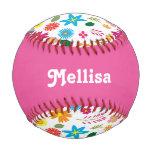 Colorful Flowers Girly Custom Baseball