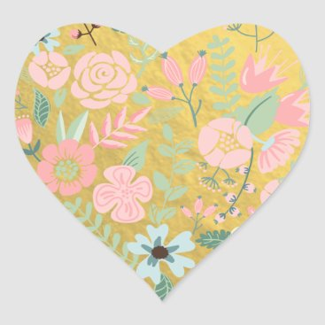 Valentines Themed Colorful Flowers Gold Foil Heart Sticker