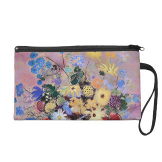 Colorful Flowers in a White Vase Wristlet