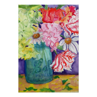 Colorful Flowers in Canning Jar Watercolor Poster
