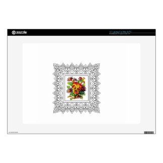 """colorful flowers in cube 15"""" laptop decal"""