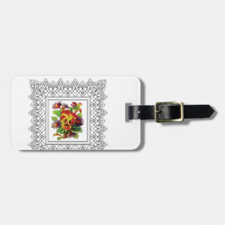 colorful flowers in cube bag tag