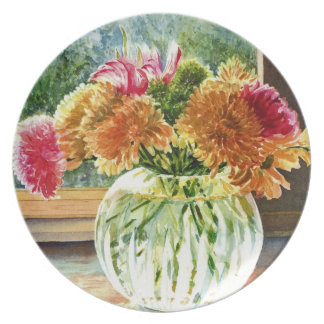 Colorful Flowers in Cut Glass Vase - Watercolor Dinner Plate