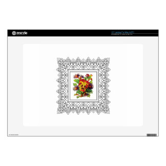 """colorful flowers in frame 15"""" laptop skins"""
