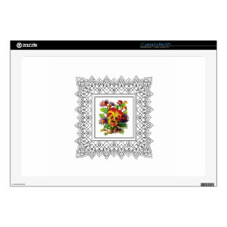 """colorful flowers in frame skin for 17"""" laptop"""