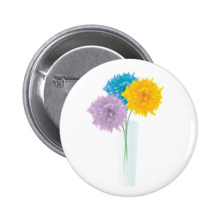 Colorful Flowers In Vase 2 Inch Round Button