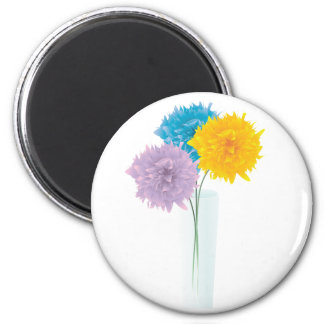 Colorful Flowers In Vase 2 Inch Round Magnet