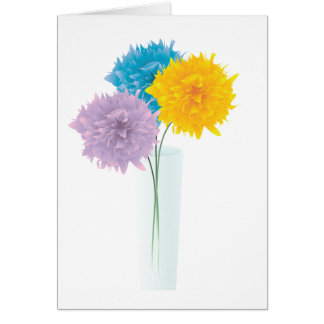 Colorful Flowers In Vase Greeting Card