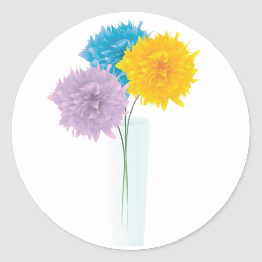 Colorful Flowers In Vase Round Stickers