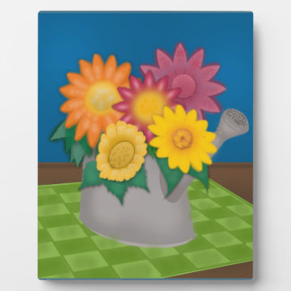 Colorful Flowers in Watering Can Photo with Easel Plaque