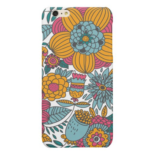 Colorful flowers glossy iPhone 6 plus case