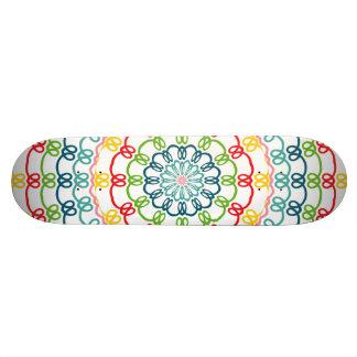 Colorful flowers kaleidoscope skate board decks
