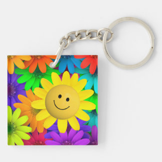 Colorful flowers Double-Sided square acrylic keychain
