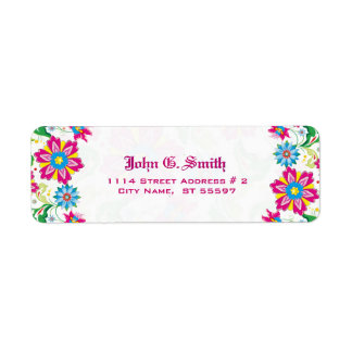 Colorful Flowers Label